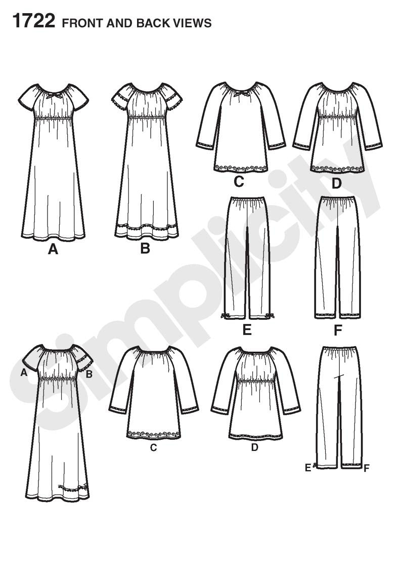 Simplicity Pattern 1722  Child's and girls' lounge dress top from Jaycotts Sewing Supplies