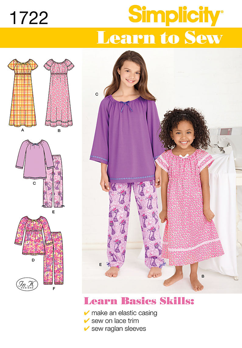 Simplicity Pattern 1722  Child's and girls' lounge dress top