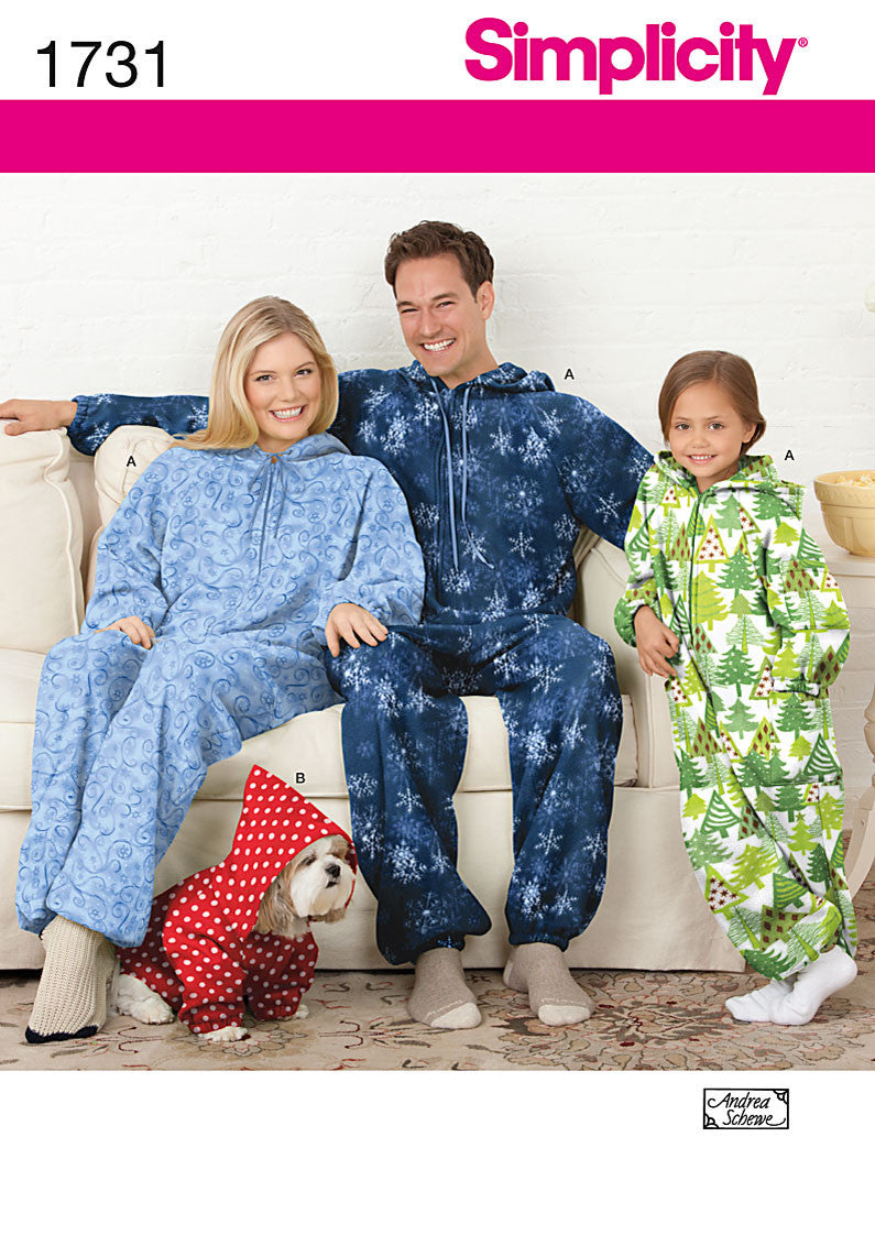 Simplicity Pattern 1731 Fleece Jumpsuit | Adults', Teens', Child from Jaycotts Sewing Supplies