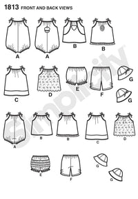 Simplicity Pattern 1813 Babies' romper, dress, top, pants from Jaycotts Sewing Supplies