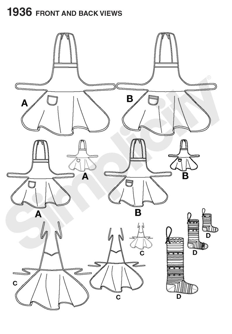 Simplicity Pattern 1936 Aprons for Child's, Misses' & Dolls + Stocking Ornament
