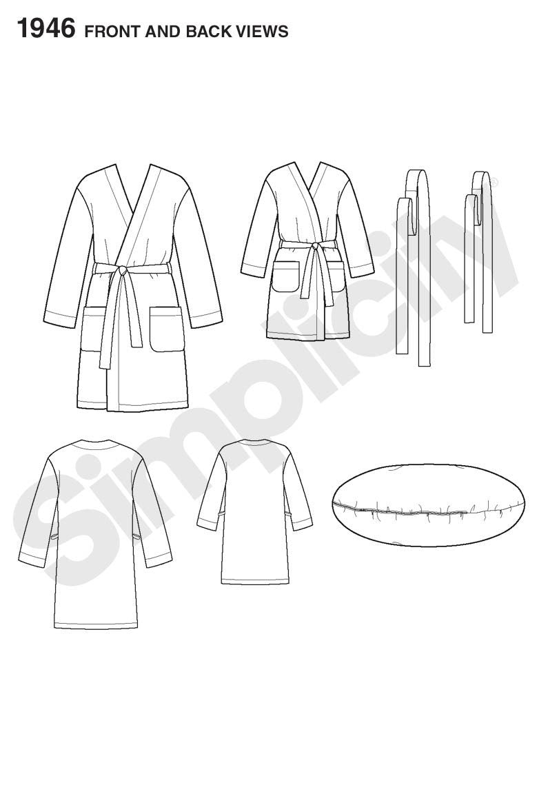 Simplicity Pattern 1946 Robe - Child's Teen's & Adults' | Learn to Sew from Jaycotts Sewing Supplies