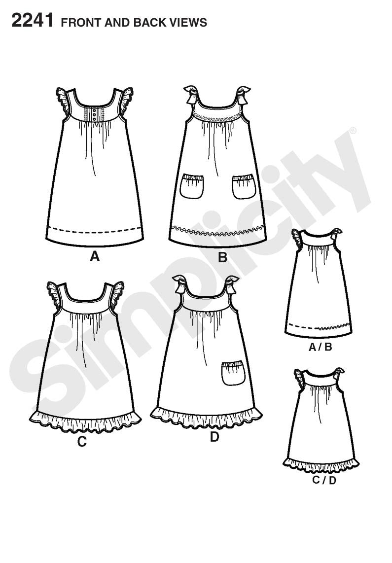 S2241 Girl's Dresses | Learn to Sew  Size 3 - 6