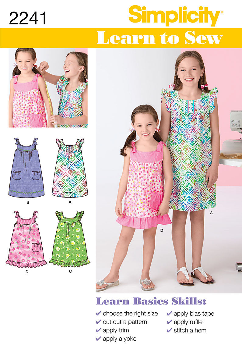 S2241 Girl's Dresses | Learn to Sew  Size 7 - 14