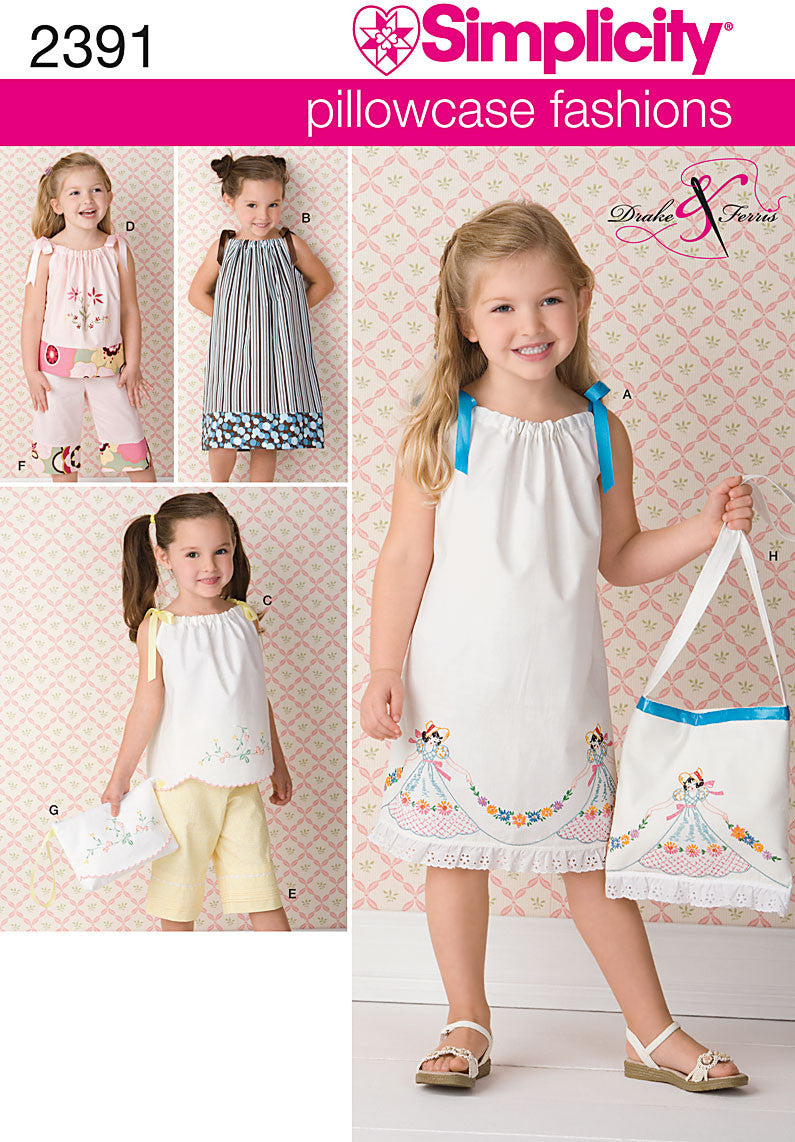 S2391 Child's Pillowcase Dress, Tops, Pants, & Bag