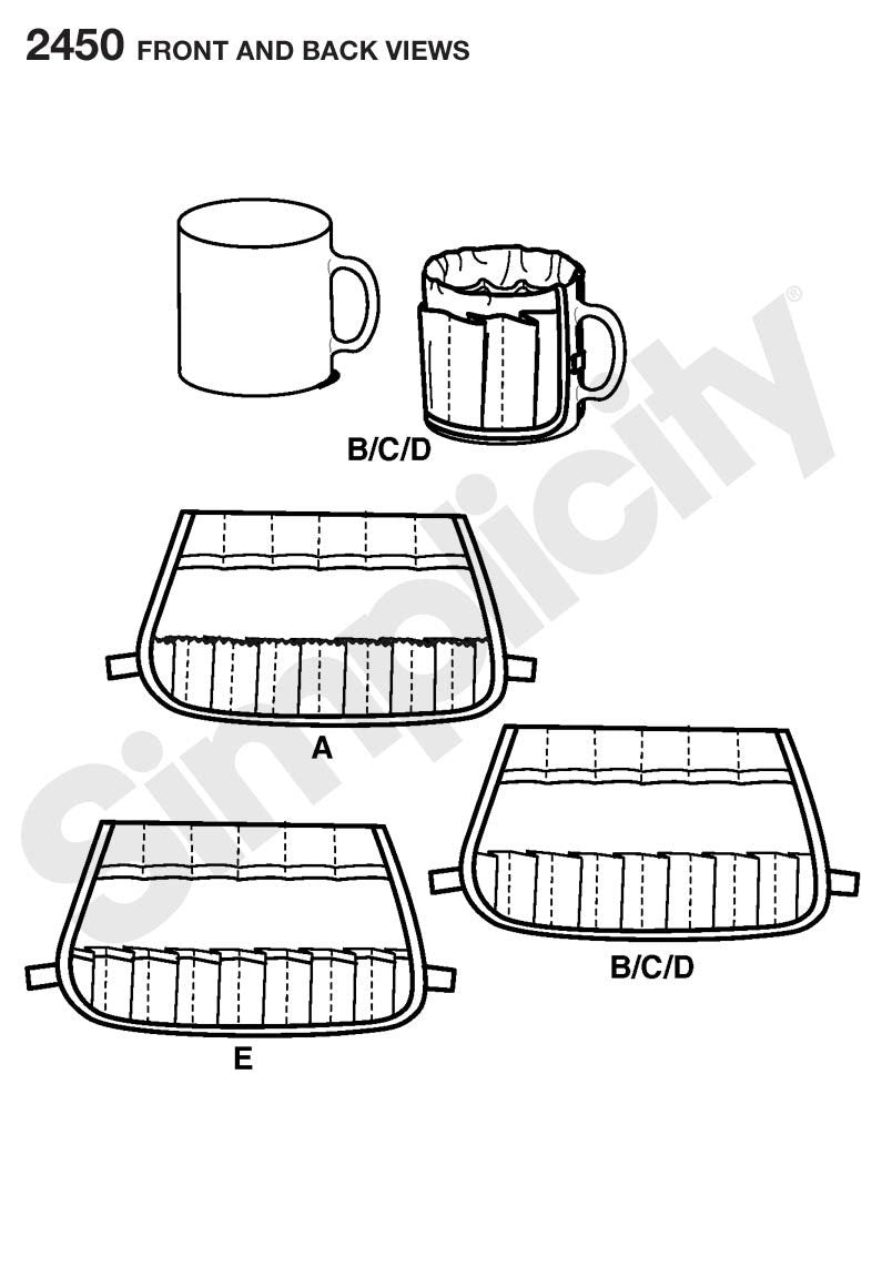 Simplicity Pattern 2450 Mug Covers from Jaycotts Sewing Supplies
