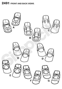 Simplicity Pattern 2491 Baby Shoes