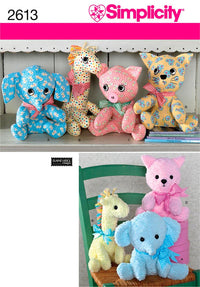 Simplicity Pattern 2613 Stuffed Animals from Jaycotts Sewing Supplies