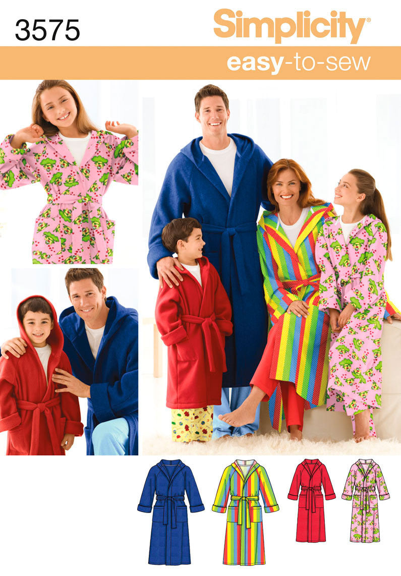 Simplicity Pattern 3575 Unisex Child, Teen and Adult Robe.