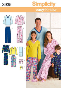 Simplicity Pattern 3935 Unisex child, teen and adult pyjamas from Jaycotts Sewing Supplies