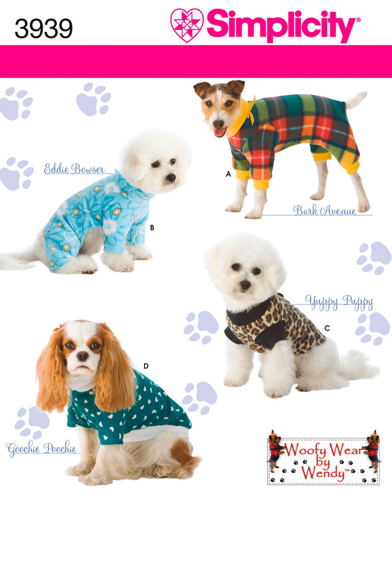 Simplicity 3939 Dog Clothes sewing pattern. from Jaycotts Sewing Supplies