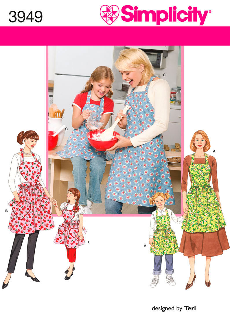 Simplicity 3949 Child & Misses' Apron pattern from Jaycotts Sewing Supplies