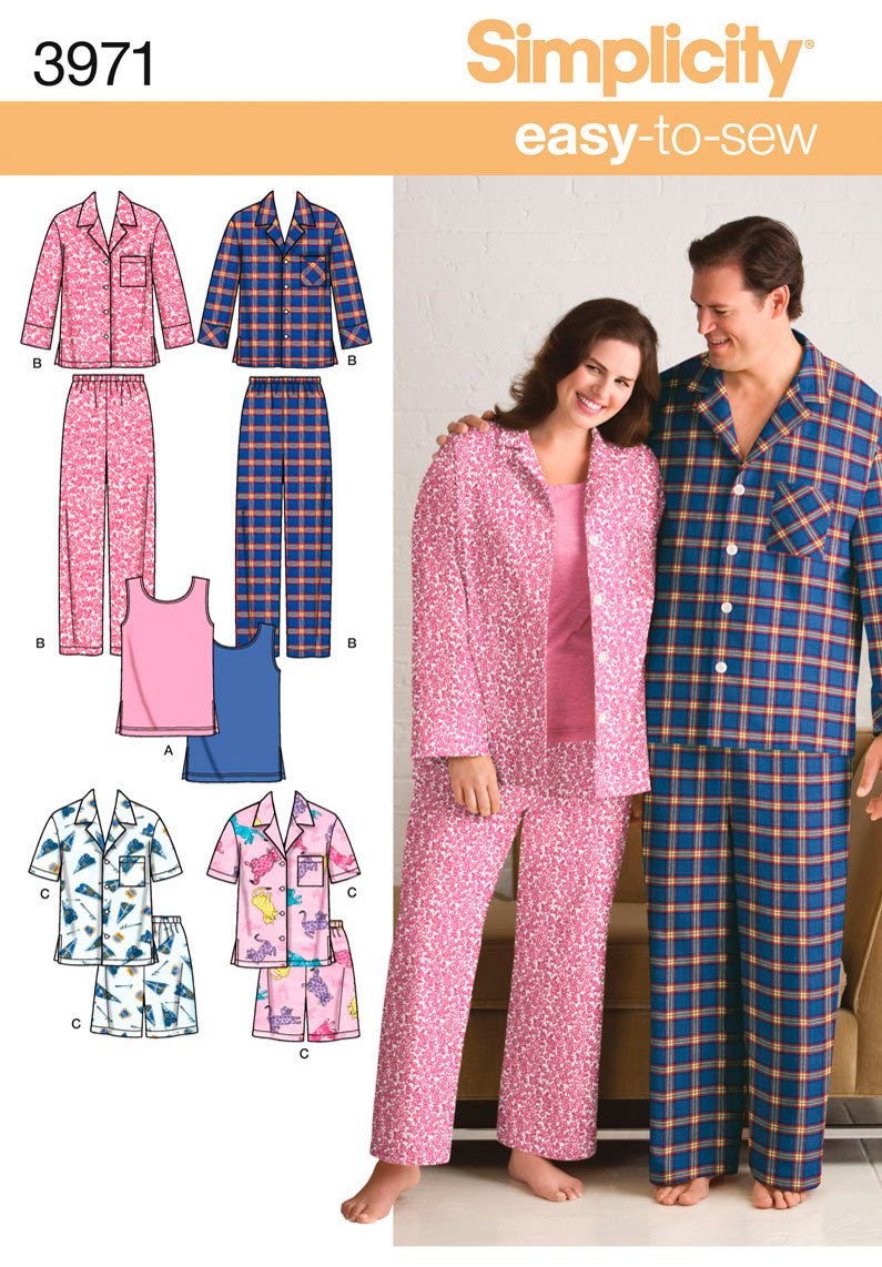 Simplicity 3971 unisex pyjamas and knit tank top. from Jaycotts Sewing Supplies
