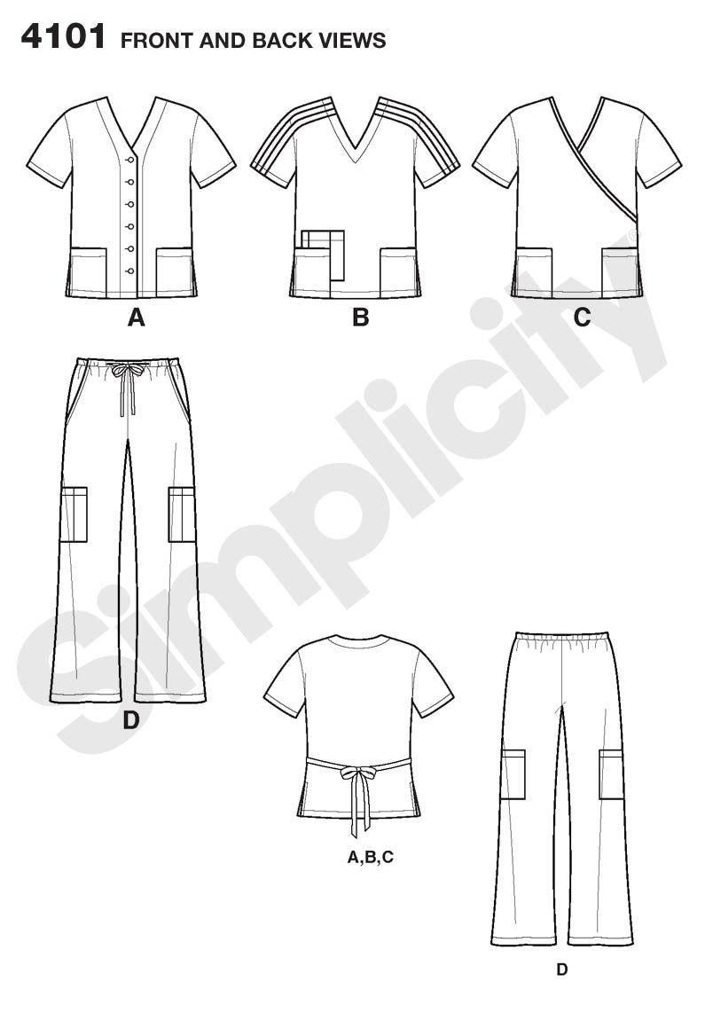 Simplicity 4101  Unisex Uniform: Scrubs pattern