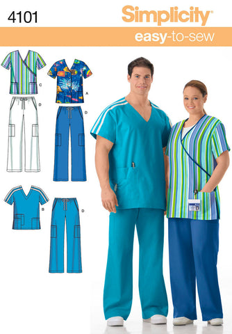 S4101 Misses' & Men's Plus Size Scrubs