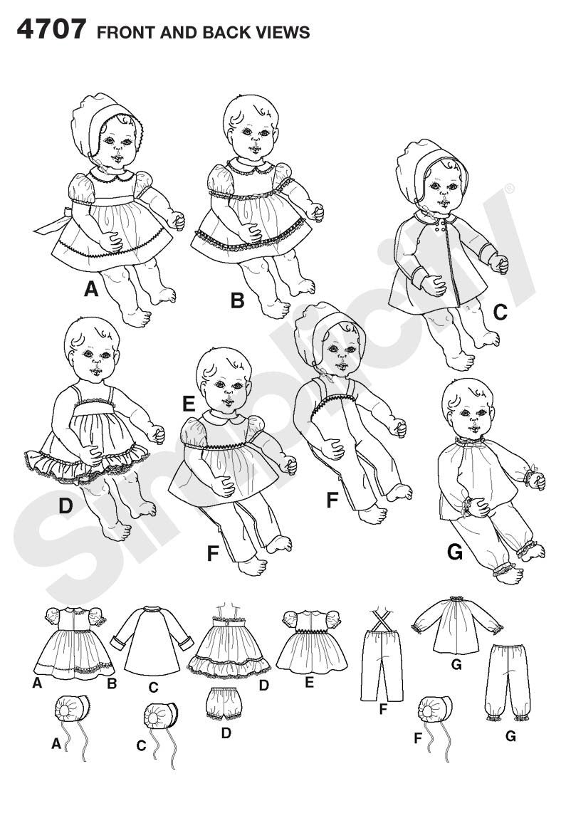 Simplicity 4707 baby Dolls clothes pattern