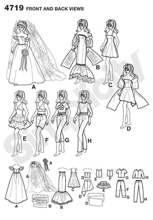 "Simplicity Pattern 4719 8 Outfits for 11½"" Fashion Doll"