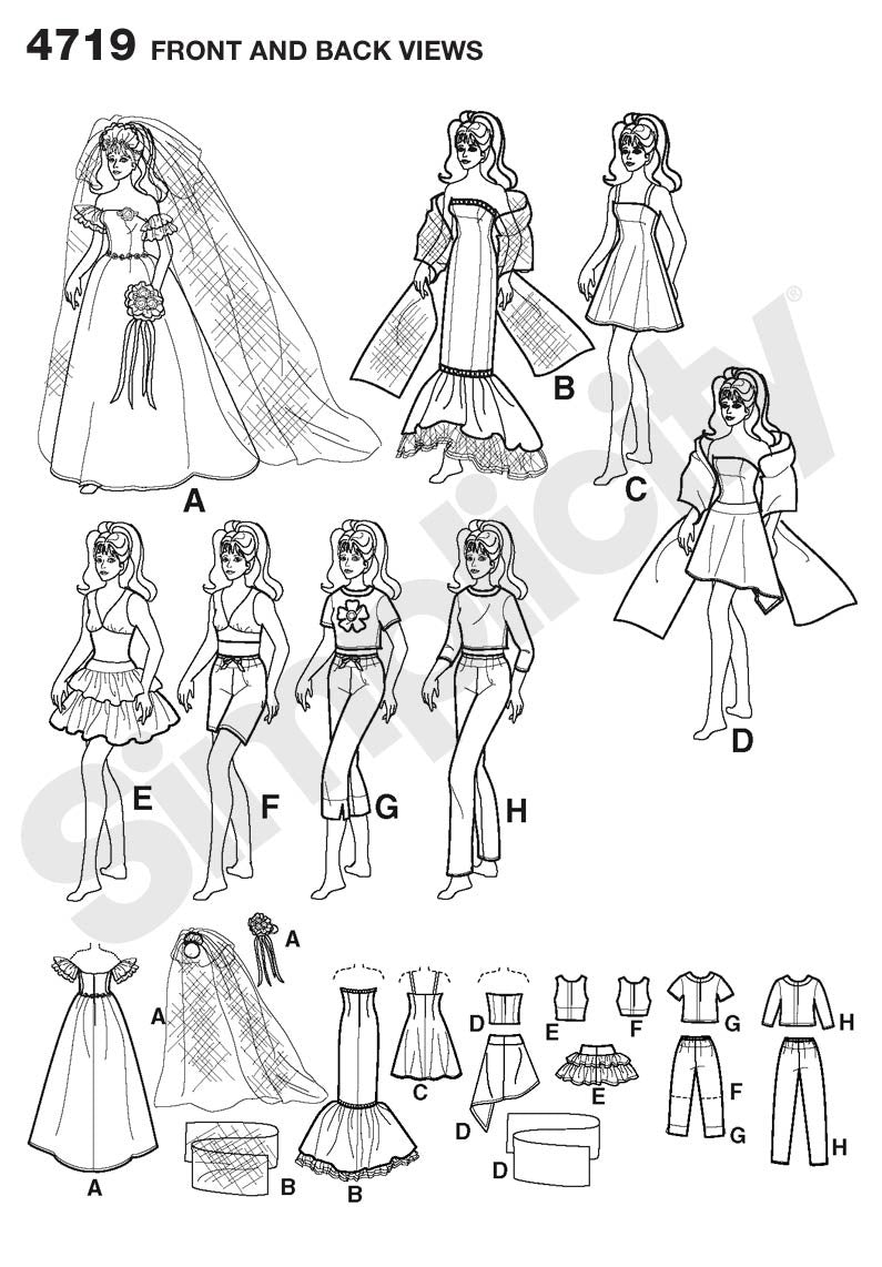 "Simplicity Pattern 4719 8 Outfits for 11½"" Fashion Doll from Jaycotts Sewing Supplies"