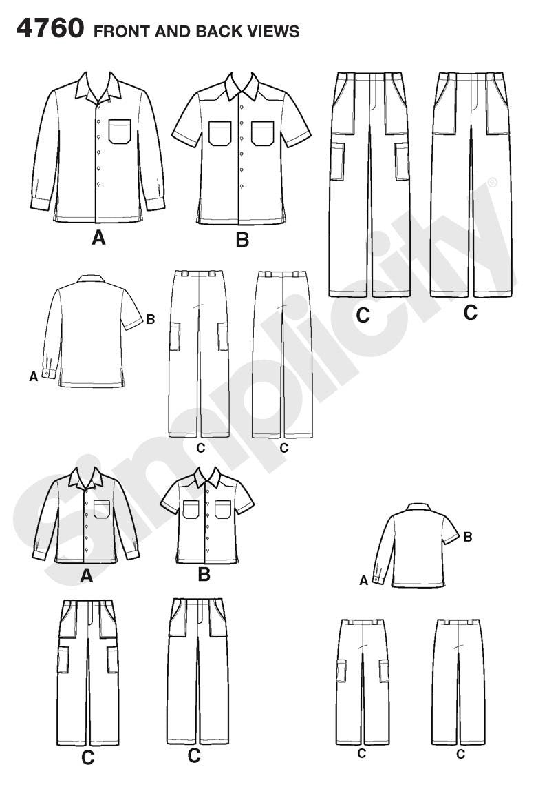 Simplicity Pattern 4760 Boys' and Men's Pants and Shirt