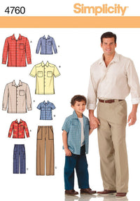 Simplicity Pattern 4760 Boys' and Men's Pants and Shirt from Jaycotts Sewing Supplies