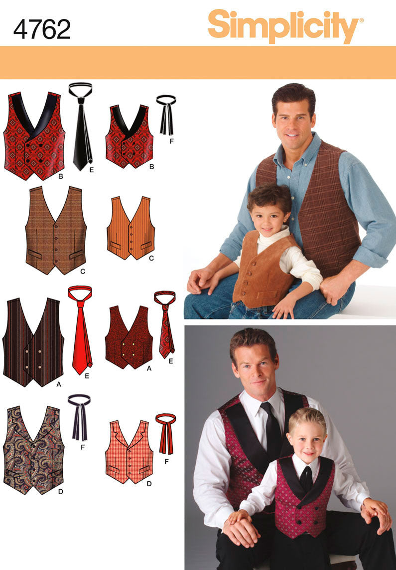 Simplicity Pattern 4762 Boys' and Men's Waistcoats & Ties. from Jaycotts Sewing Supplies