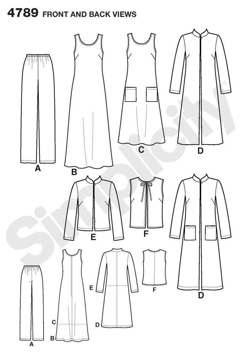 Simplicity Pattern 4789 Misses'/Plus Size Pants, Vest, Jacket and Jumper