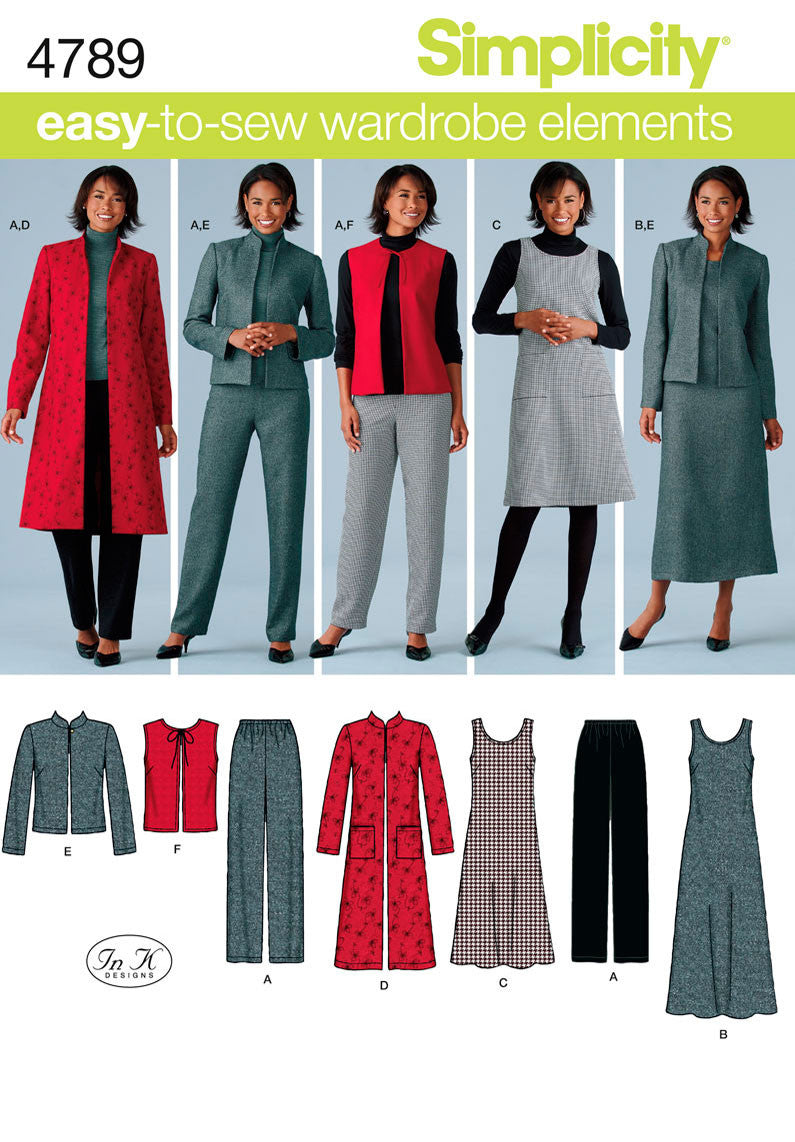 Simplicity Pattern 4789 Misses'/Plus Size Pants, Vest, Jacket and Jumper from Jaycotts Sewing Supplies