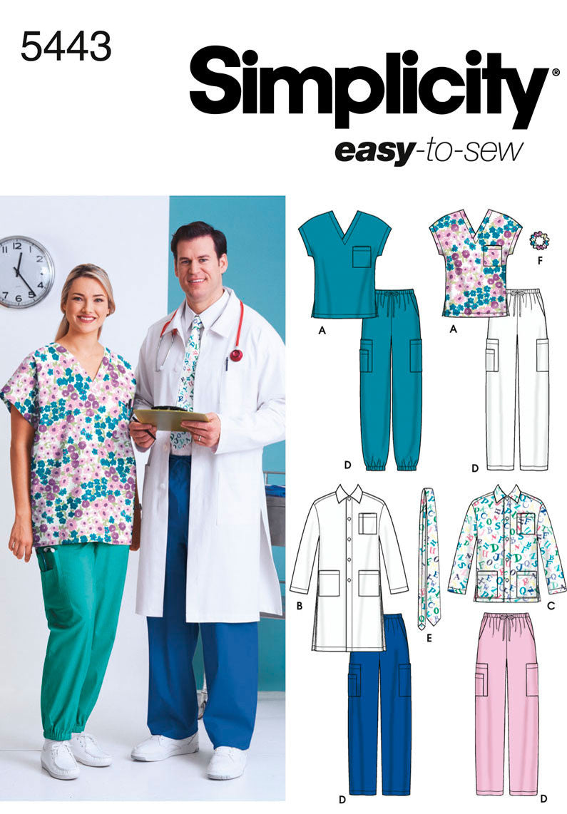 Simplicity Pattern 5443 Plus Size Women and Men Scrub Top
