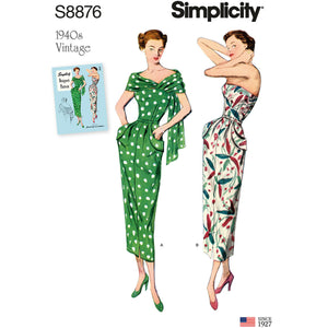 Simplicity 8876 Misses'/Women's Vintage Dress and Stole from Jaycotts Sewing Supplies