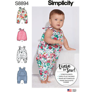 Simplicity 8894 Babies' Knit Romper pattern from Jaycotts Sewing Supplies