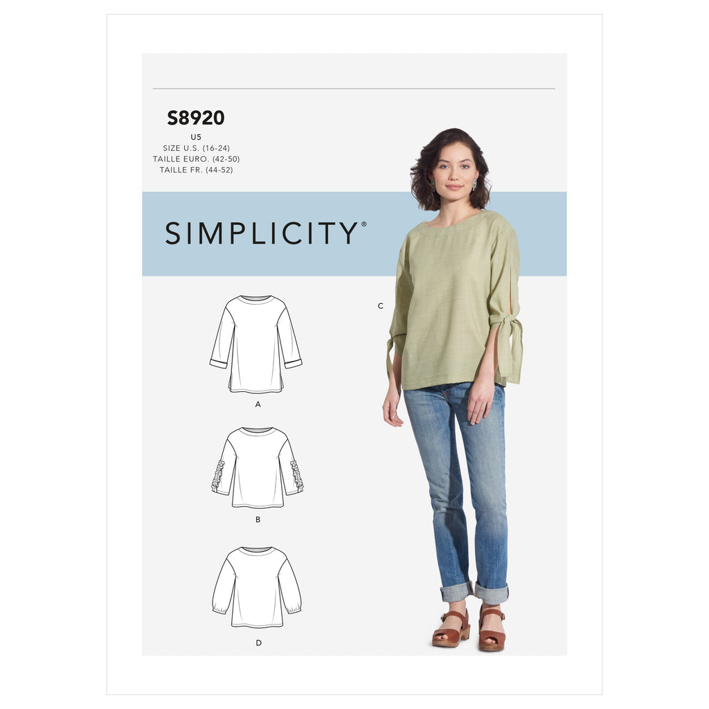 Simplicity Sewing Pattern S8920  Tops