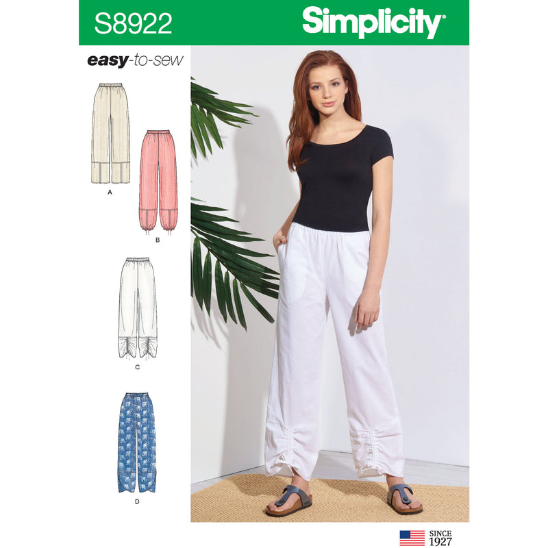 Simplicity Pattern 8922 Misses' pull-on pants from Jaycotts Sewing Supplies