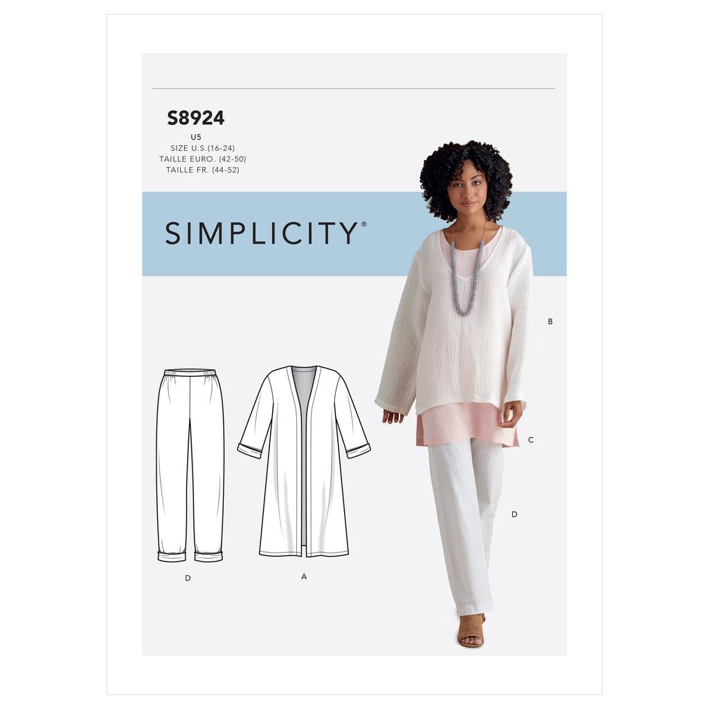 Simplicity Sewing Pattern S8924  Jacket, Top, Tunic and Pull-on Pants