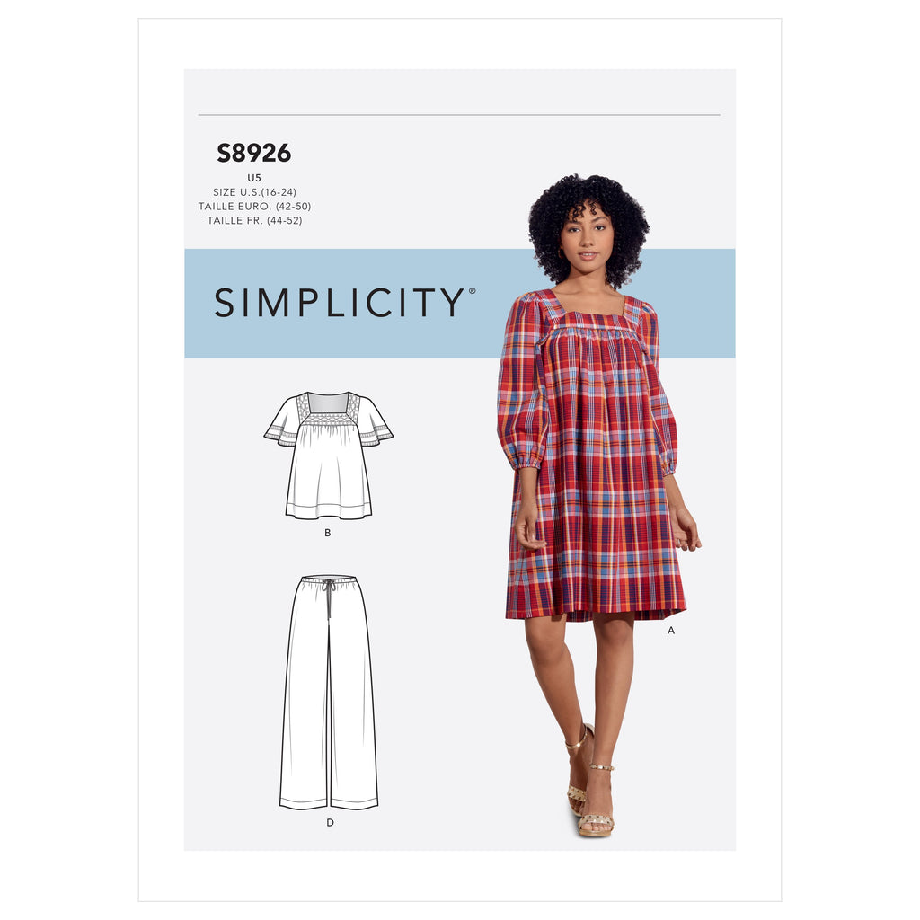Simplicity Sewing Pattern S8926 Dress, Tops and Pants from Jaycotts Sewing Supplies