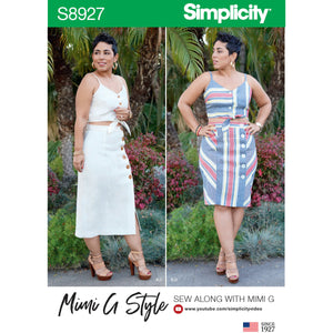 Simplicity 8927 Mimi G close-fitting tie-front crop top,