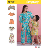 Simplicity Pattern 8936 Girl's Tops, Pants and Shorts