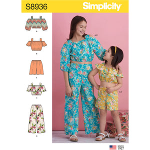 Simplicity Pattern 8936 Girl's Tops, Pants and Shorts from Jaycotts Sewing Supplies