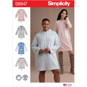 Simplicity Sewing Pattern 8947 Knit Sweatshirt Mini Dresses from Jaycotts Sewing Supplies