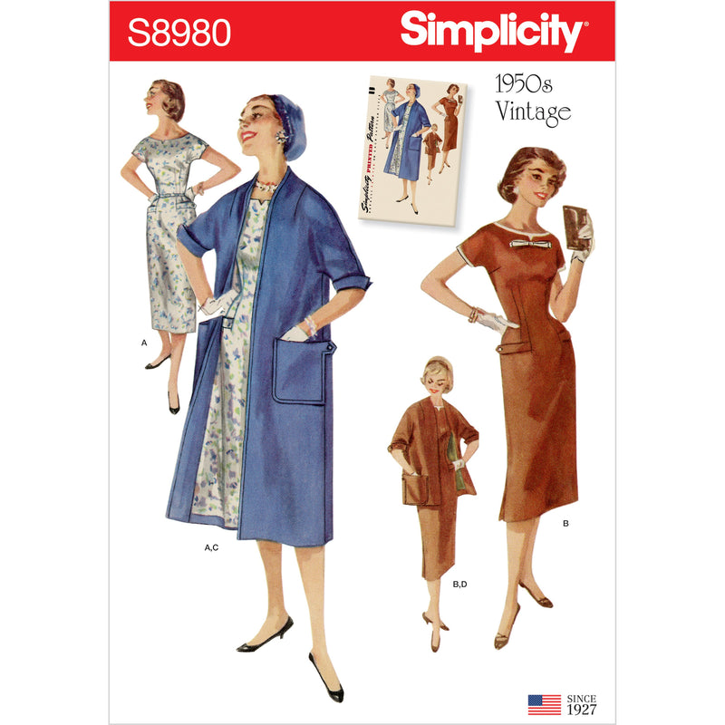 Simplicity 8980 Fifties Vintage Dresses and Lined Coats from Jaycotts Sewing Supplies