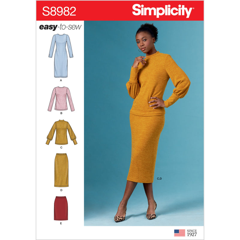 Simplicity Sewing Pattern 8982 Knit Dress, Tops, Skirts