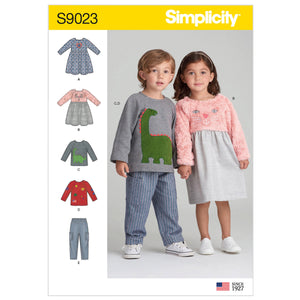 Simplicity Sewing Pattern 9023 Toddlers' Dresses, Top & Pants