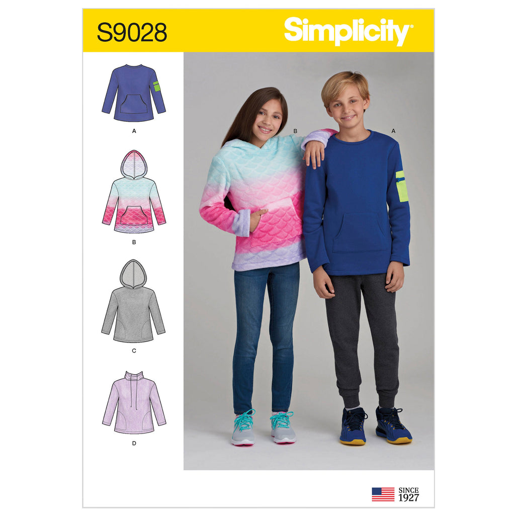 Simplicity Pattern 9028 Girls' / Boys' Knot Tops with Hoodie