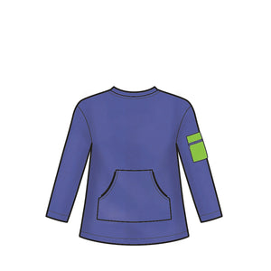 Simplicity Pattern 9028 Girls' / Boys' Knot Tops with Hoodie from Jaycotts Sewing Supplies