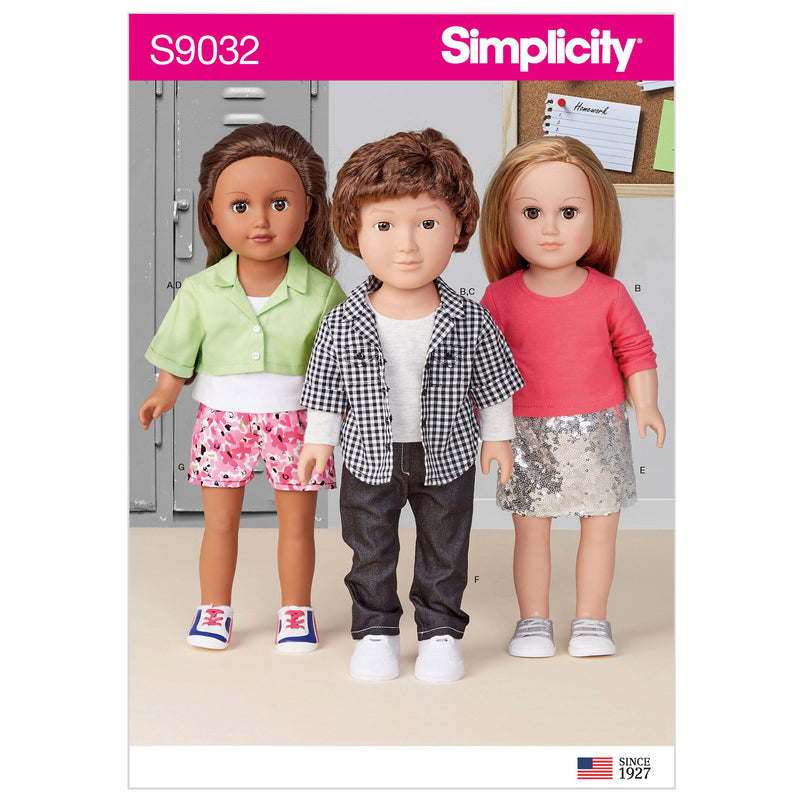 "Simplicity Sewing Pattern 9032 18"" Unisex Doll Clothes"