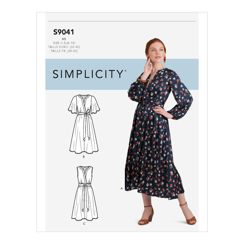 Simplicity Sewing Pattern S9041  Front Tie Dress In Three Lengths