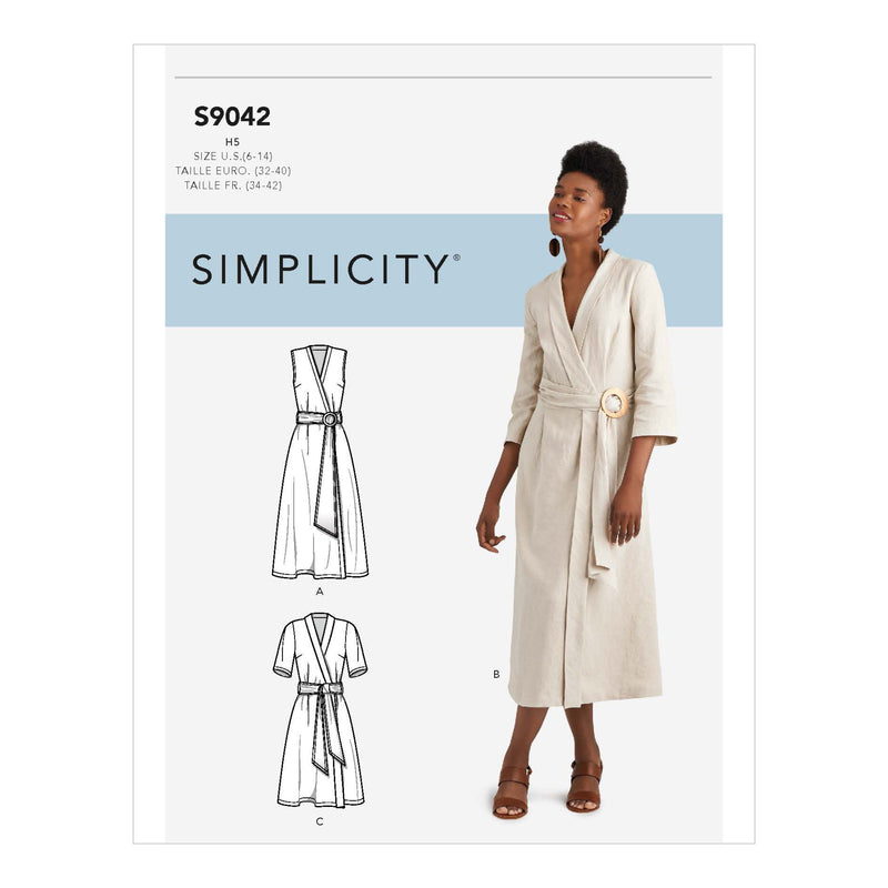 Simplicity Sewing Pattern S9042 Wrap Dresses With Waist Tie from Jaycotts Sewing Supplies