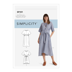 Simplicity Sewing Pattern 9101  Pullover Dresses In Two Lengths from Jaycotts Sewing Supplies