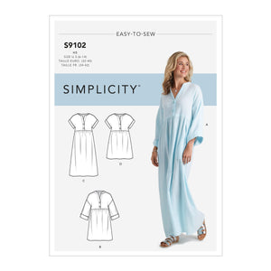 Simplicity Sewing Pattern S9102 Caftan and Dresses from Jaycotts Sewing Supplies