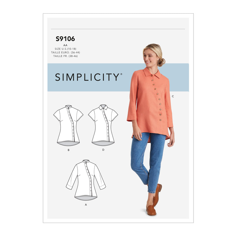 Simplicity Sewing Pattern S9106 Misses / Women's Button Front Shirt from Jaycotts Sewing Supplies