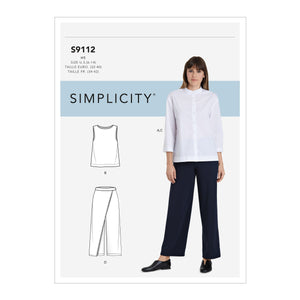 Simplicity Sewing Pattern S9112  Button Down Top, Shell and Pants from Jaycotts Sewing Supplies
